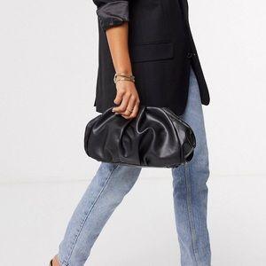ASOS Design Oversized Ruched Black Clutch Bag
